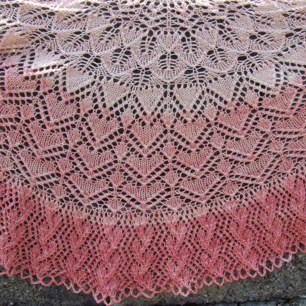 "PT-174 Pasi Shawl LEVEL OF EXPERIENCE: Intermediate  SIZE: 19"" tall and 50"" wide YARN: PACA PEDS by The Alpaca Yarn Company, 20% Alpaca, 65% Superwash Wool, 15% Nylon (25g) = 100 yds (6 skein gradient kit)  NEEDLES:  Size US #6 (4.0 mm) 29"" circular needles NOTIONS:  tapestry needle, ring markers, Size G (4.0 mm) crochet hook GAUGE:  18 sts and 32 rows = 4"" in stockinette stitch"